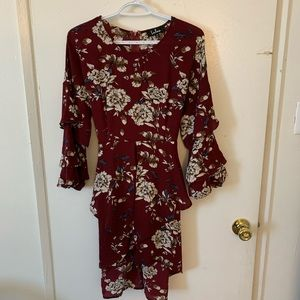 NWT Lulu's Burgundy Floral Lotus Midi Dress Size M
